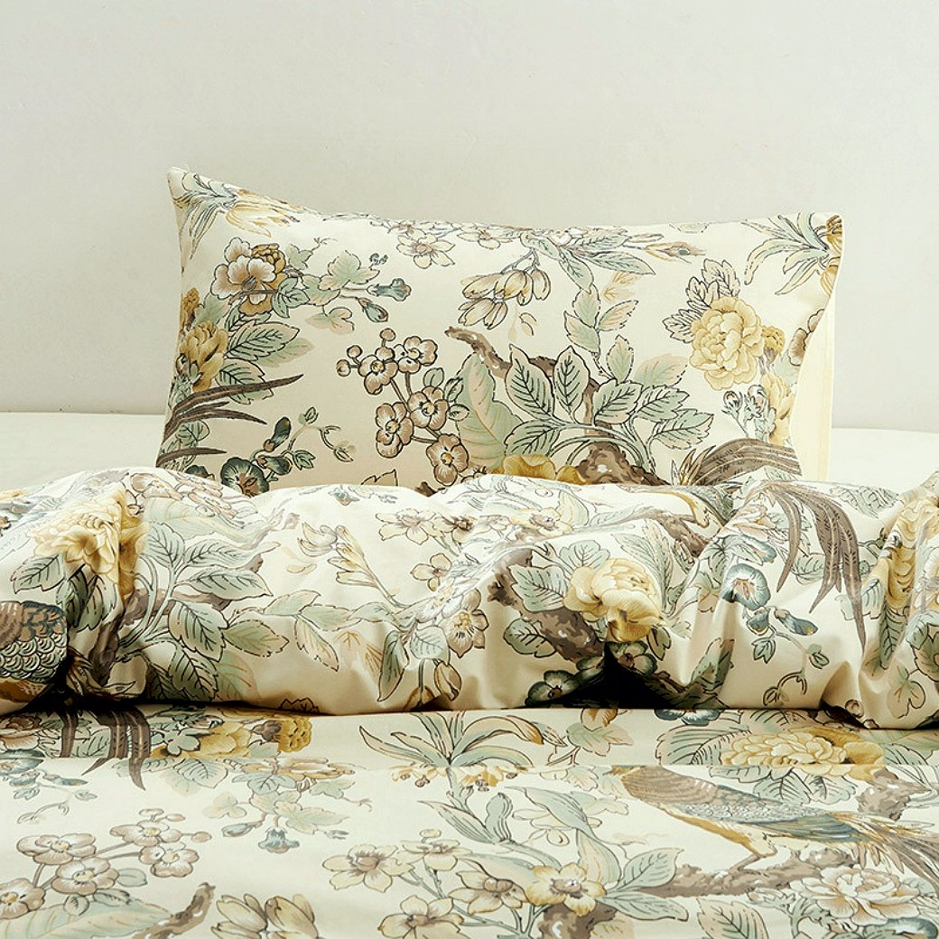 Chinoiserie Chic Peacock Floral Duvet Cover Paradise Garden Botanical Bird and Tree Branches Vintage Stylized Long Staple Cotton 2pc Bedding Set (Twin, Yellow)