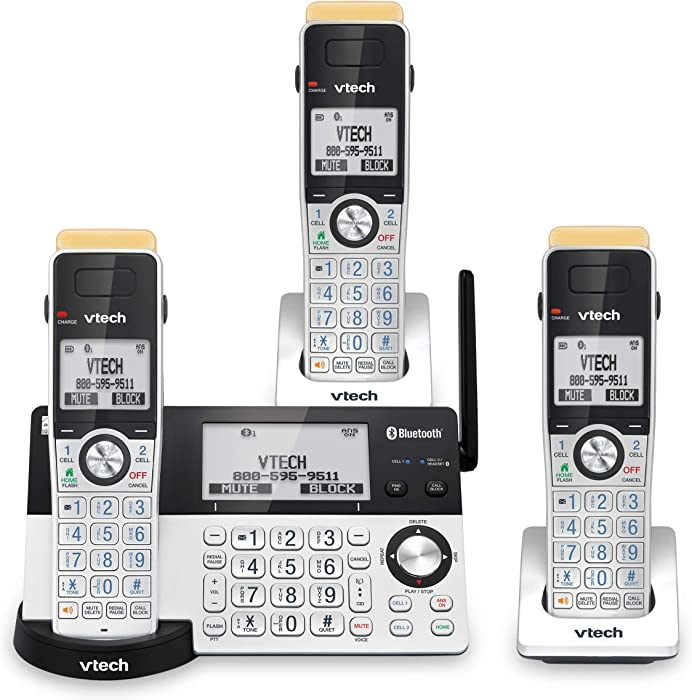 VTech IS8151-3 Super Long Range 3 Handset DECT 6.0 Cordless Phone for Home with Answering Machine, 2300 ft Range, Call Blocking, Bluetooth, Headset Jack, Power Backup, Intercom, Expandable to 12 HS