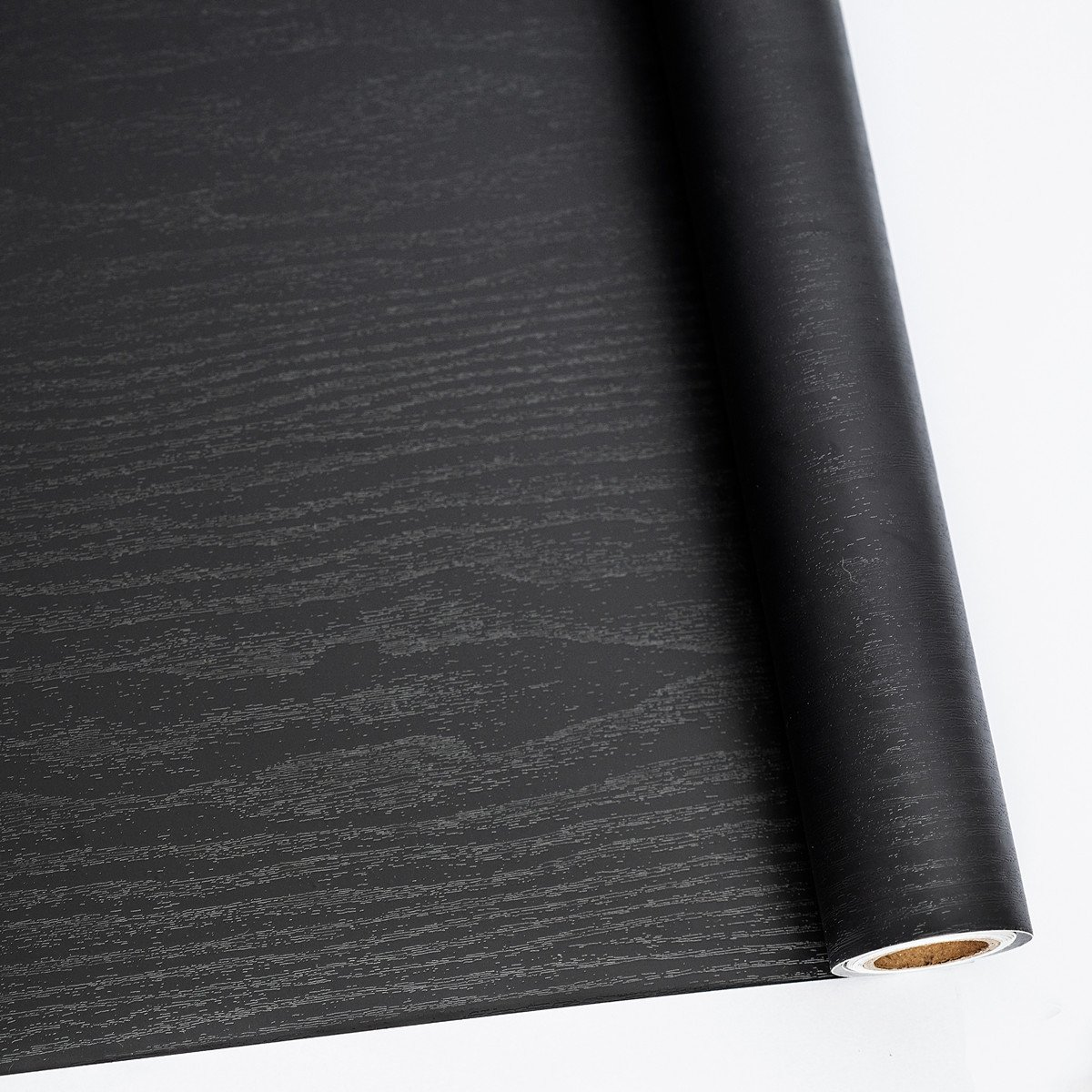 24'' X 118'' Black Wood Self Adhesive Paper Decorative Self-Adhesive Film Furniture Real Wood Tactile Sensation Surfaces Easy to Clean by Abyssaly
