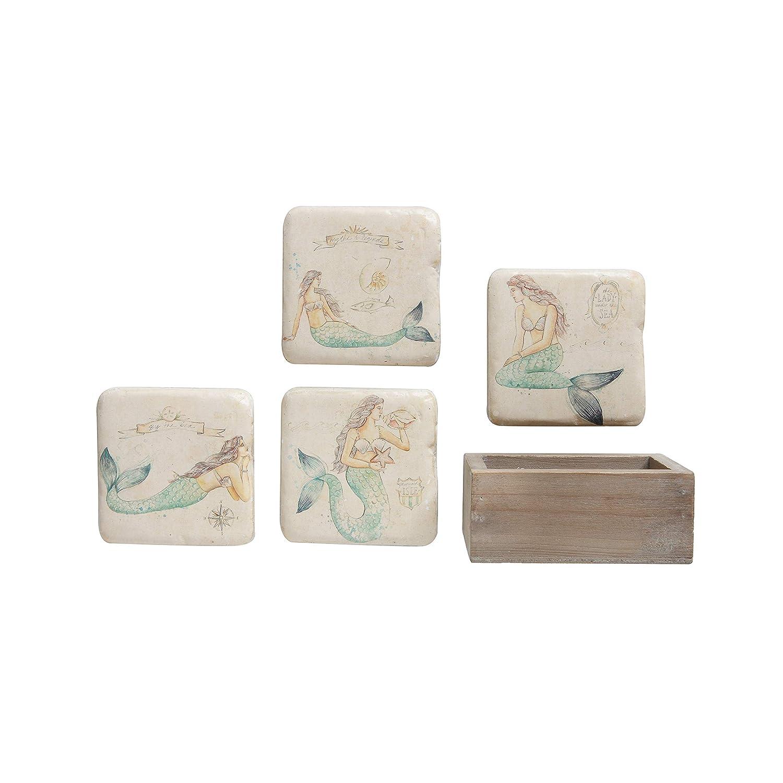 クリエイティブco-op Squareマーメイドコースターの木製ボックス08-dining/entertain-glass/バー、カーキ   B07F3PL6RH