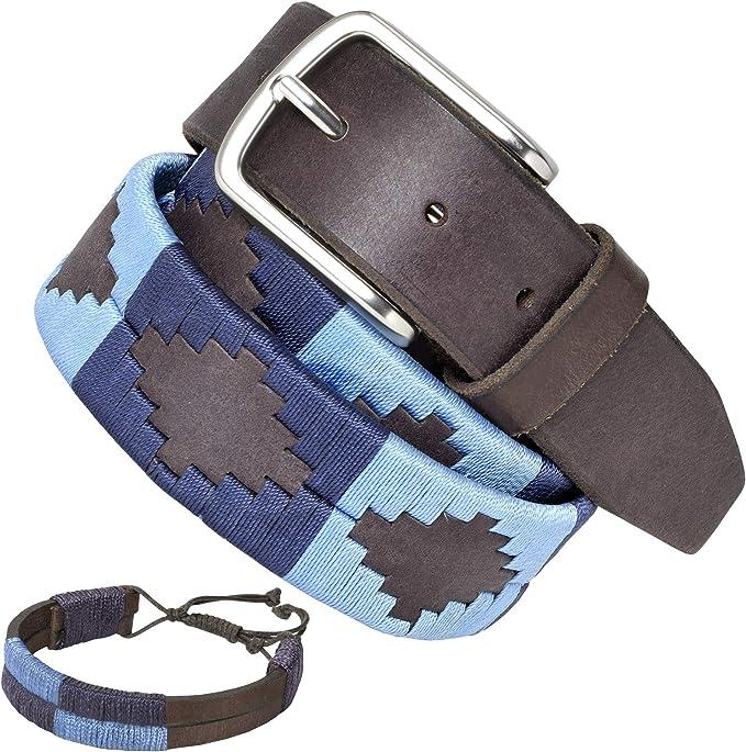 PELPE - Cinturón argentino de piel, con pulsera de hilo y cuero a juego. Cinturón bordado sobre cuero, para hombre y mujer. Cinturones argentinos Polo: Amazon.es: Ropa y accesorios