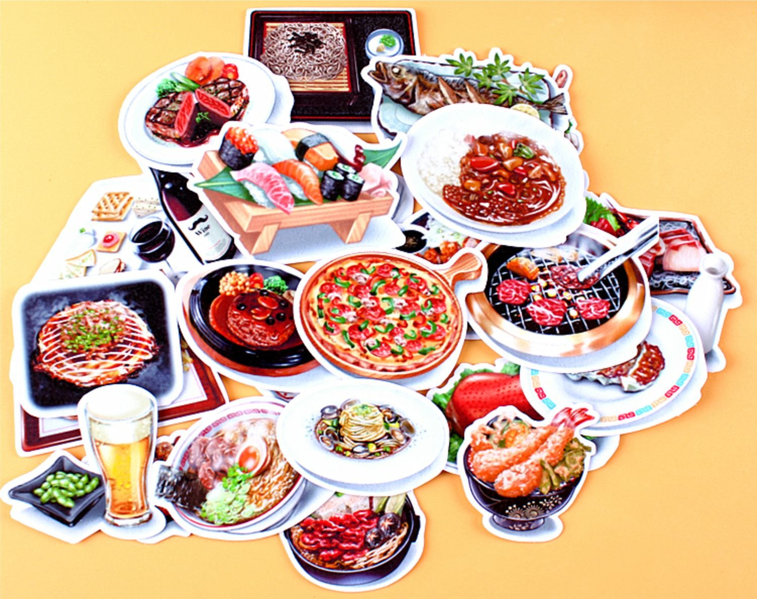 64pcs set self made yummy food pizza bbq scrapbooking stickers diy craft diy sticker pack photo albums diary decoration by jalaya amazon co uk kitchen