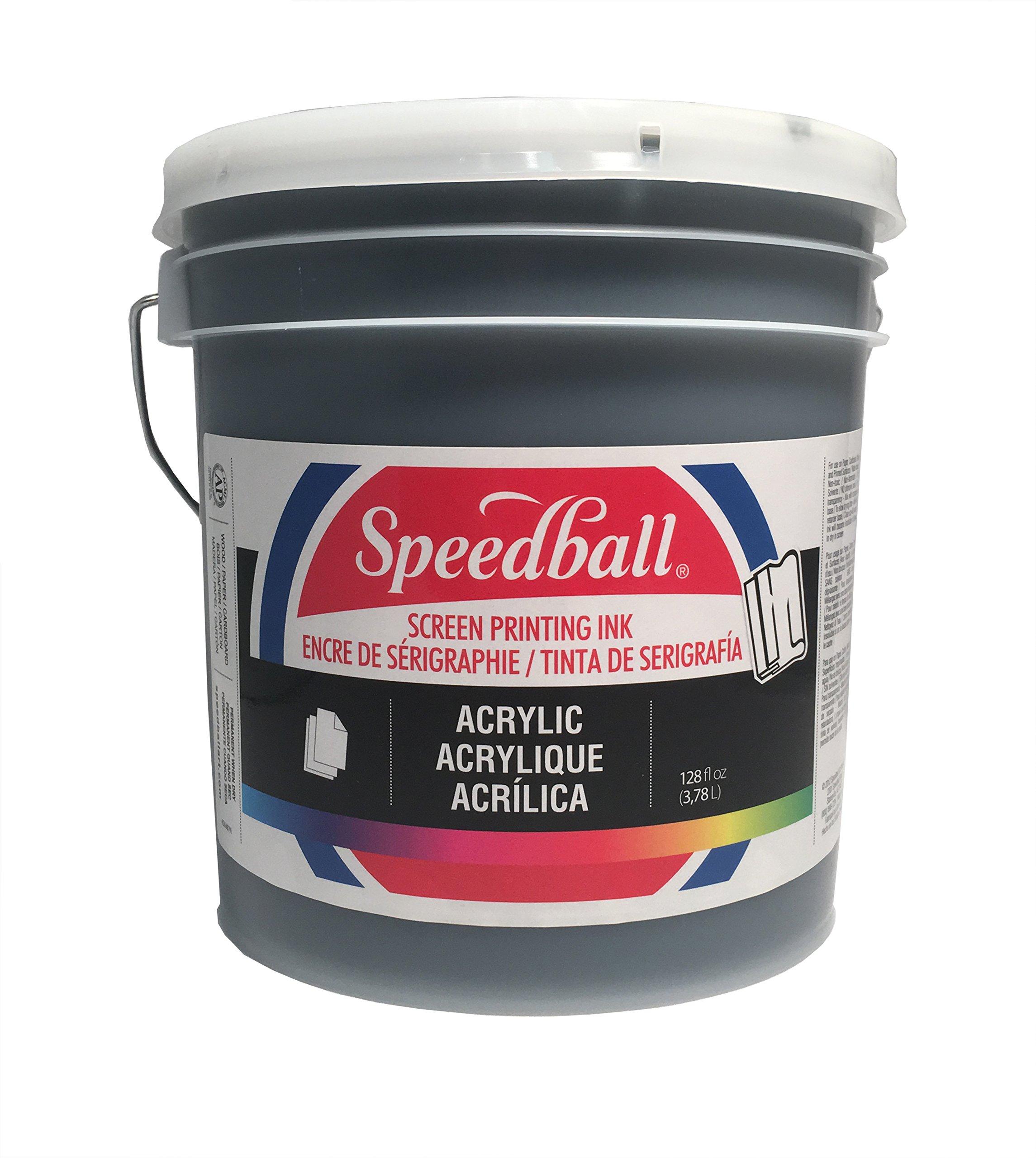 Speedball 004677 Acrylic Screen Printing Ink, 128 FL OZ, Black by Speedball