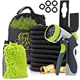 Garden Hose {ALL NEW 2018}: 50ft Expandable Garden Hose with Triple Natural Latex Core, Solid Brass Connector Extra Strength Fabric + 8 Pattern Spray Nozzle + Free Bonuses/Green Oasis