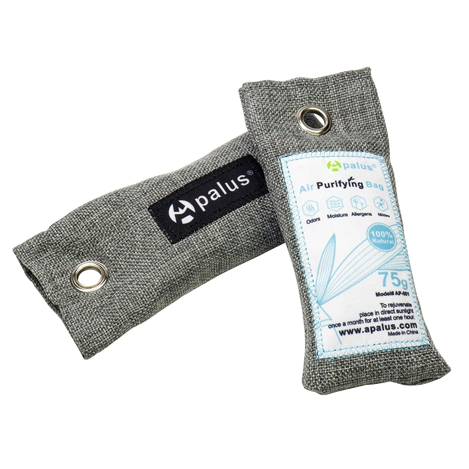 Apalus Mini Air Purifier Bags, Bamboo Activated Charcoal Air Freshener,  Odor Eliminator For Shoes | Gym Bags |Closet -100% Natural & Chemical Free