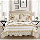 Mk Collection 3pc King/California King Oversize Reversible Quilted Bedspread Set Flowers Off White Green Pink Purple New