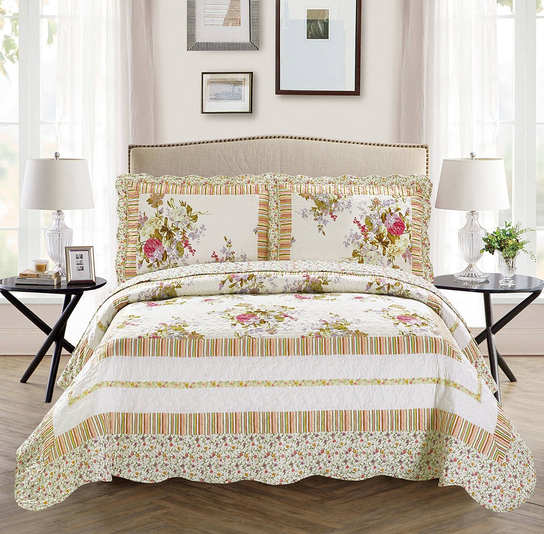 Mk Collection 2pc Twin/Twin Extra Long Oversize Reversible Quilted Bedspread Set Flowers Off White Green Pink Purple New Mk Home