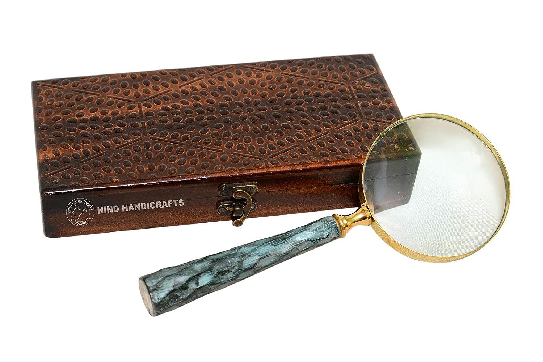 Colouredダークブルーハンドヘルド拡大鏡3インチプレミアム真鍮Framed Magnifying Glass with Wooden Carvedハンドル  Office Ware Decorativeズームレンズby Hind Handicrafts ブラウン  ブラウン B072KY4JLB