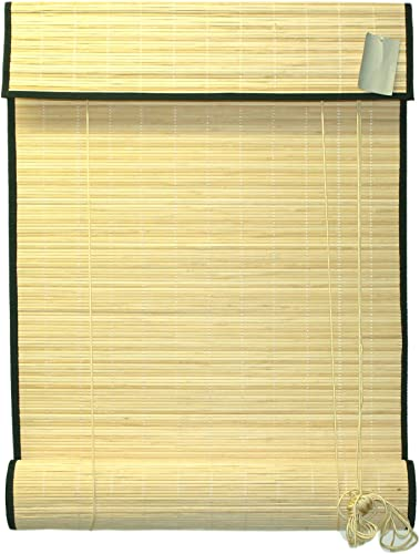 Seta Direct, Natural Bamboo Slat Roll Up Blind with Valance 72-Inch Width by 84-Inch Length