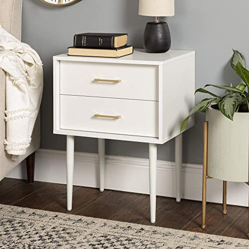 Walker Edison Modern Olivia 2 Drawer Wood Rectangle Side Living Room Small End Accent Table