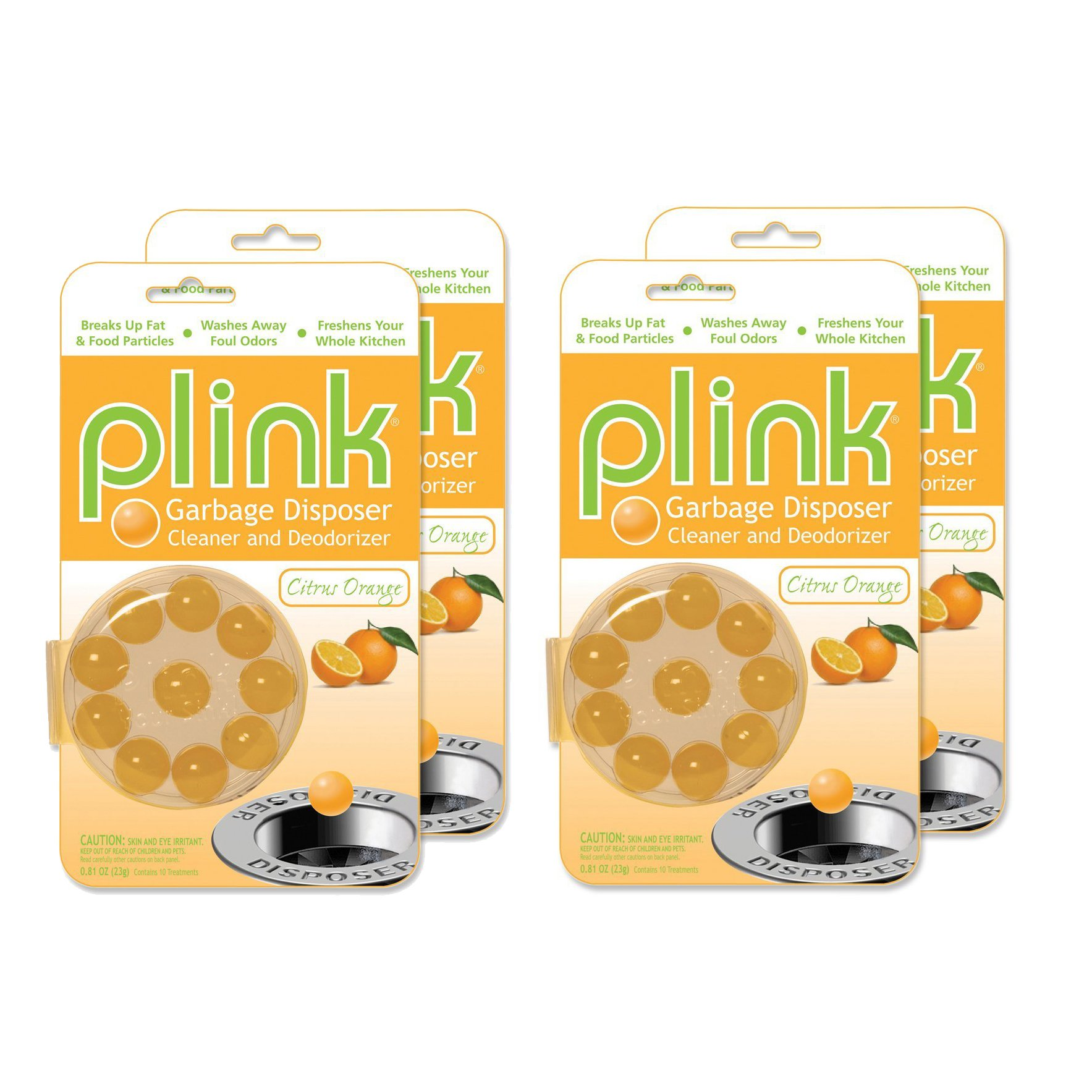 Compac's Plink Garbage Disposal Cleaner & Deodorizer Infuses and Freshens Your Entire Kitchen With 4 Crisp, Clean, Exciting Scents-Waste Disposal Cleaner Orange, 4 Packs (40 Pods)