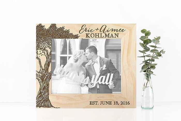 Amazon.com: Wooden Frame Wedding Gift Engraved Names Wedding Date ...