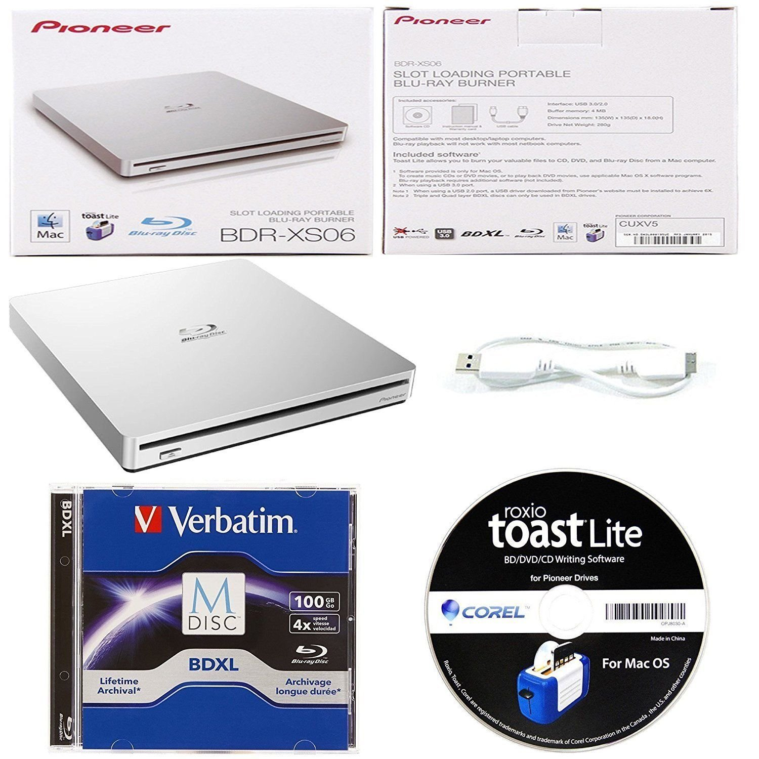 Pioneer 6X BDR-XS06 Slim Portable Blu-ray Burner Bundle with 15 Pack M-DISC BD - Supports USB 3.0, BDXL, BD, DVD, and CD Media (Silver, Retail Box)