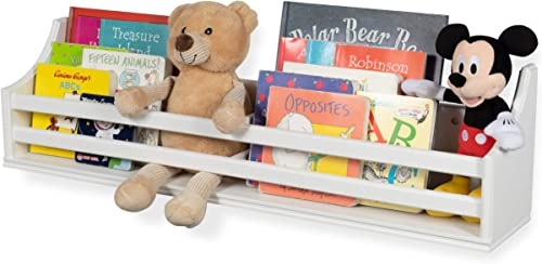 brightmaison White Wooden Bunk Bed Wall Shelf Bookcase and Bedside Storage for Children s Kids Room Storage Decor Hanging Bookshelf Fully Assembled