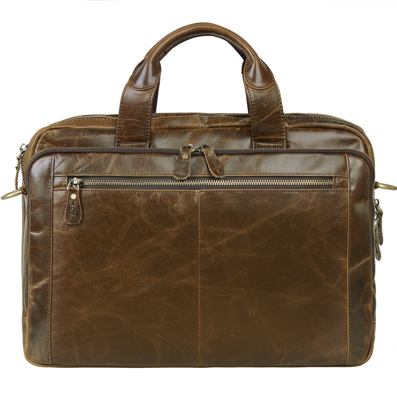 Jack& Chris Leather Men's Briefcase Laptop Bag Messenger Shoulder Bag, NM7230