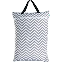Teamoy Travel Hanging Wet Dry Bag(24.7*18 inches) for Cloth Diapers Organizer Tote Bag (XL, Gray Chevron)