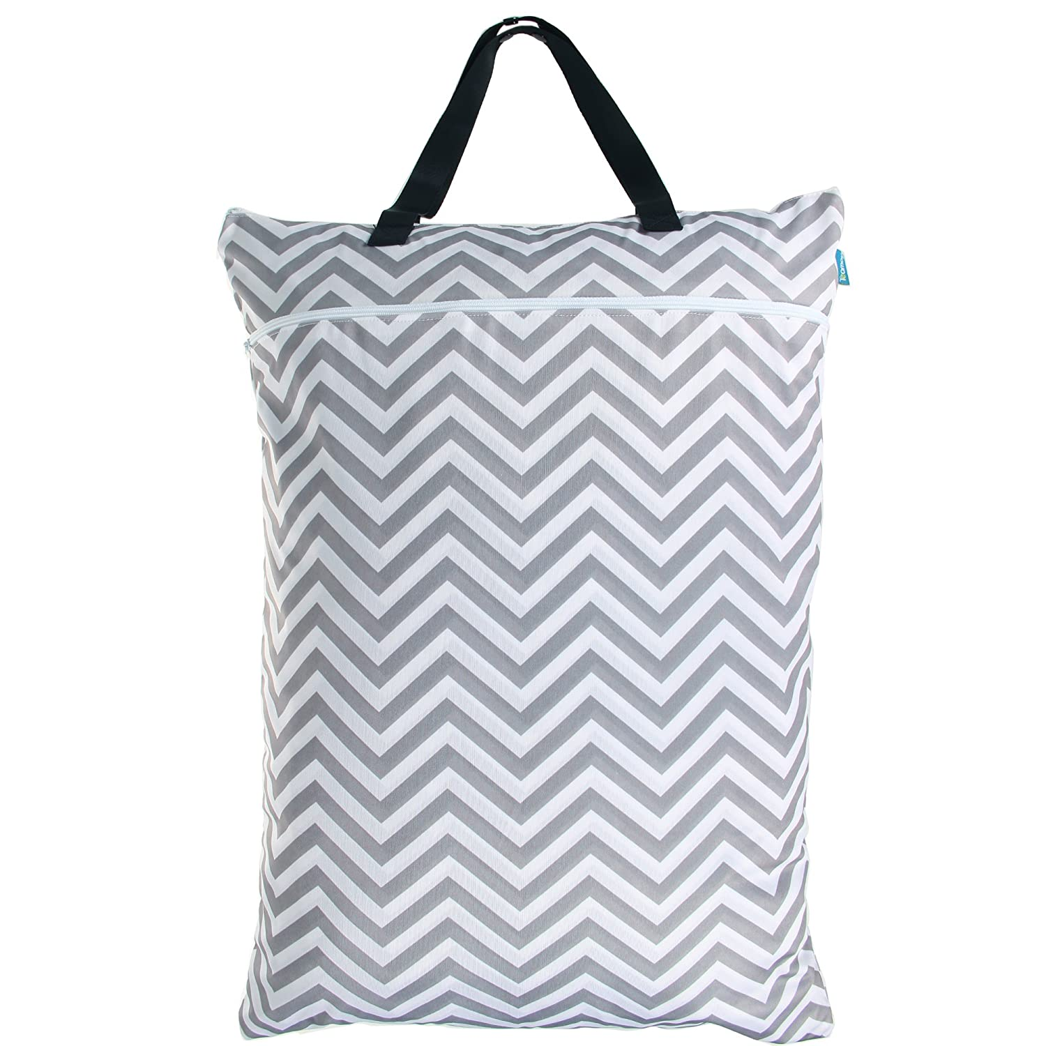 Teamoy Travel Hanging Wet Dry Bag(24.7 * 18 inches) for Cloth Diapers Organizer Tote Bag (XL, Blue Chevron)