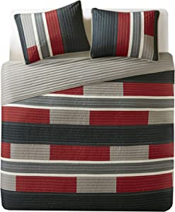 Comfort Spaces Pierre 2 Piece Quilt Coverlet Bedspread All Season Lightweight Hypoallergenic Pipeline Stripe Colorblock Kids Bedding Set, Twin/Twin XL, Black/Red