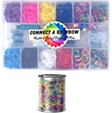 2000+ pc Connect a Rainbow Loom Band Kit with Rubber Bands, 200 Neon Glitter Bands, 100+ Pony and Glass Beads, Cute Charms, and Rhinestone Metal Connectors, Organizer + 600 pc Bonus Bands