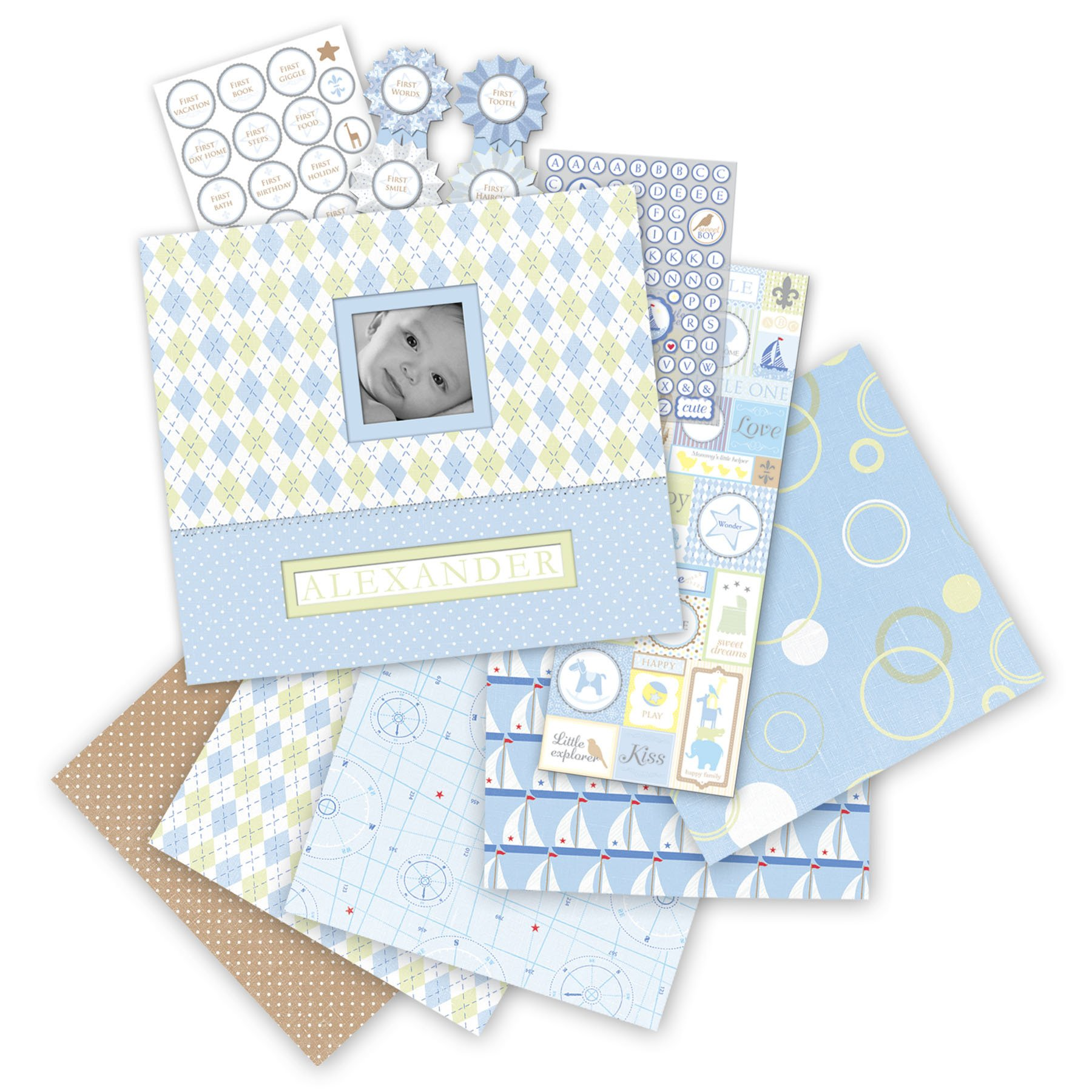 K&Company Little House Boxed Baby Boy 12-by-12-Inch Scrapbook Kit