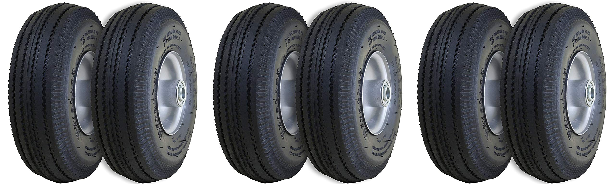 Marathon 4.10/3.50-4'' Pneumatic (Air Filled) Hand Truck/All Purpose Utility Tires on Wheels, 2.25'' Offset Hub, 5/8'' Bearings (3 X Pack of 2)