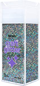 """Hemway Chunky Craft Glitter Shaker for Arts Crafts Tumblers Schools Paper Glass Decorations DIY Projects - 1/40"""" 0.025"""" 0.6MM - 130g/4.6oz - Gun Metal Holographic"""