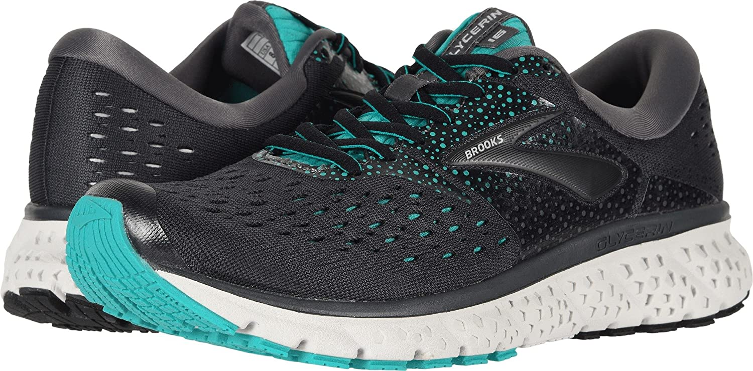 Brooks Womens Glycerin 16 B077K7PH1P 9.5 B(M) US|Ebony/Green/Black