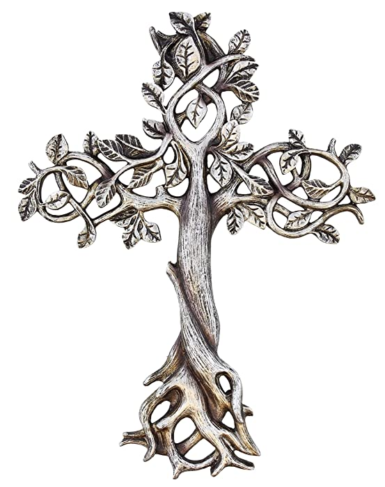 """Old River Outdoors Tree of Life Wall Cross 11 1/2"""" - Decorative Spiritual Art Sculpture Antique Silver Finish"""