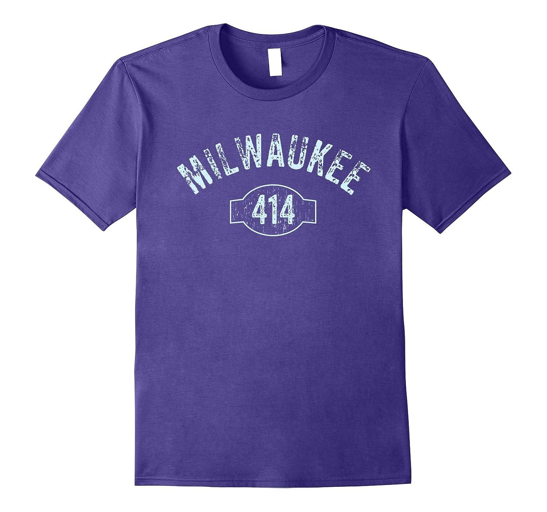Milwaukee 414 Area Code T-Shirt Distressed Vintage Tee-PL