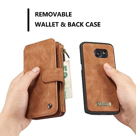 CaseMe - Funda tipo cartera para Samsung S7, multifunción, desmontable, piel auténtica, ranuras para tarjetas y dinero en efectivo, botones magnéticos, ...