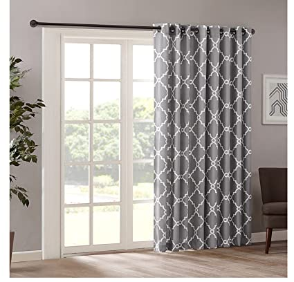 Amazon Com 1pc 84 Grey Color Geometric Sliding Door Curtain Gray