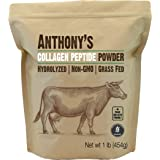 Anthony's Collagen Peptide Powder, 1 lb, Pure Hydrolyzed, Gluten Free, Keto and Paleo Friendly, Grass Fed, Unflavored, Non GM
