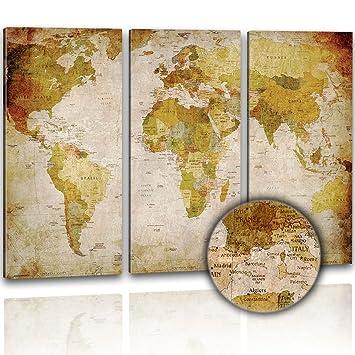 XXL Kunstdruck   Antike Weltkarte 120x80cm; 3 Teilig   Im Retro Look Auf  Canvas Leinwand