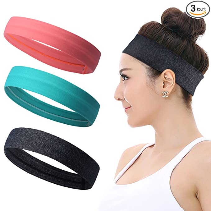 Workout Headbands for Women Men - Silicone Grip Non slip Yoga Sweatbands, Stretchy Soft Running Wicking Head Sweat Band Set, Elastic Exercise Hair wrap, Sports Fitness Tennis Gym Athletic best fitness headbands