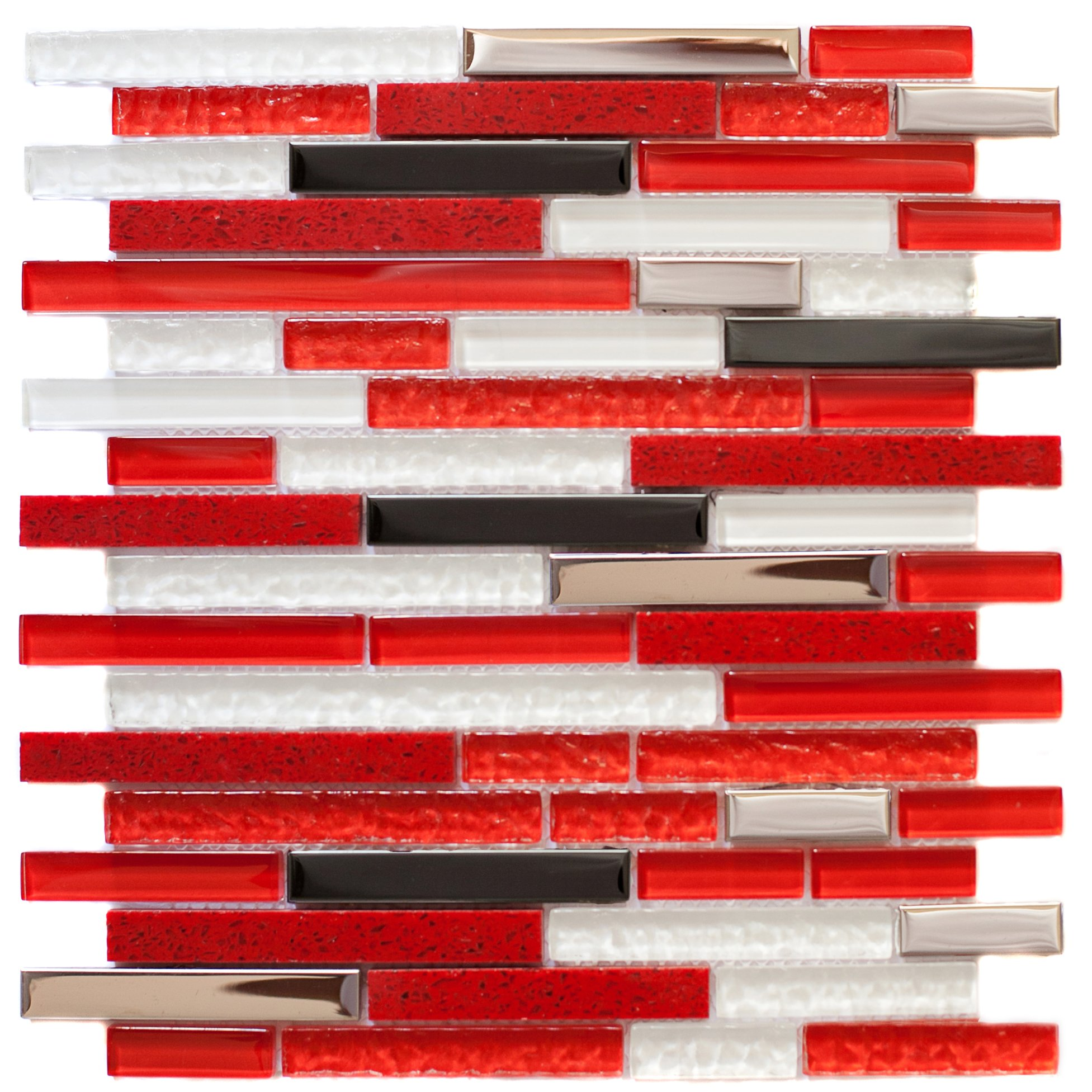 12''x12'' Linear Mix Red Gloss, Glass and Steel Mosaic