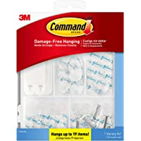 Clear Variety Kit, Hooks and Strips to Hang Up to 19 Items, Organize Damage-Free