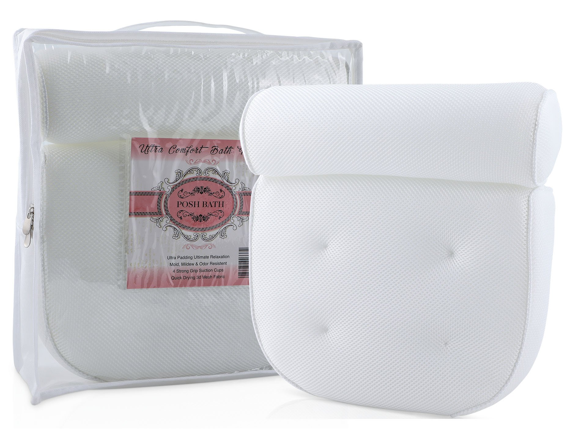White Bath Pillows For Tub | Luxury Bathtub Pillow | Comfortable Pillow with Suction Cups for Bath, Jacuzzi, Hot Tub, n Spa | Pillows for Neck n Shoulder Support | Bubble Bath Foam Cushion | Washable