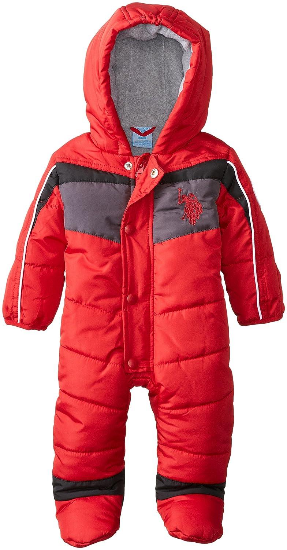 Baby-Boys Newborn Chest Striped Puffer Bunting Snowsuit Polo Assn U.S