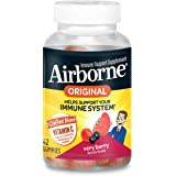 Airborne Vitamin C 750mg - Airborne Very Berry Flavored Gummies (42 count in a bottle), Gluten-Free Immune Support Supplement with Echinacea and Ginger, Packaging May Vary
