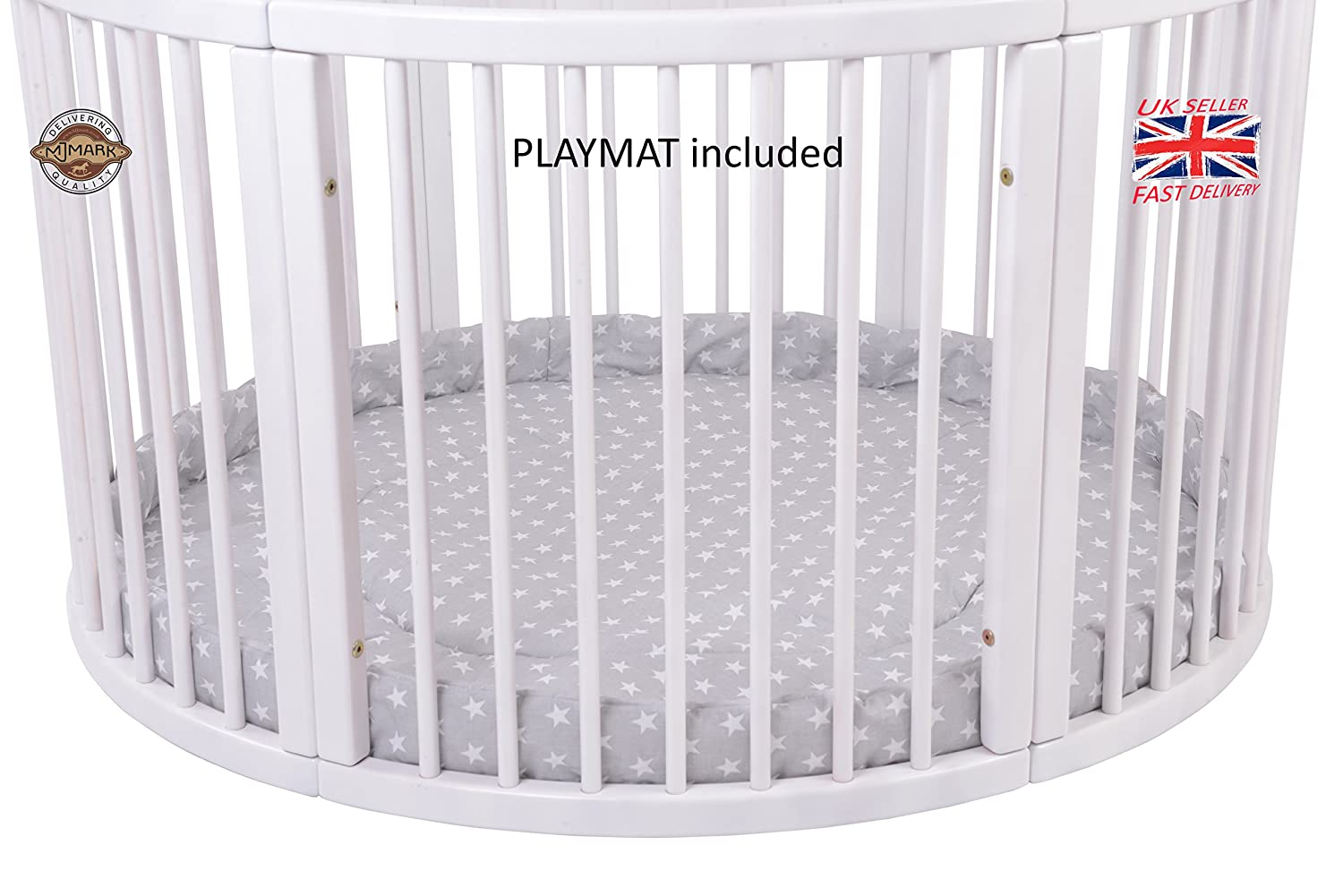MJmark LARGE Round PLAYPEN ATLAS DUE with play-mat in Grey with white Stars SALE SALE VERY LARGE PLAYPEN