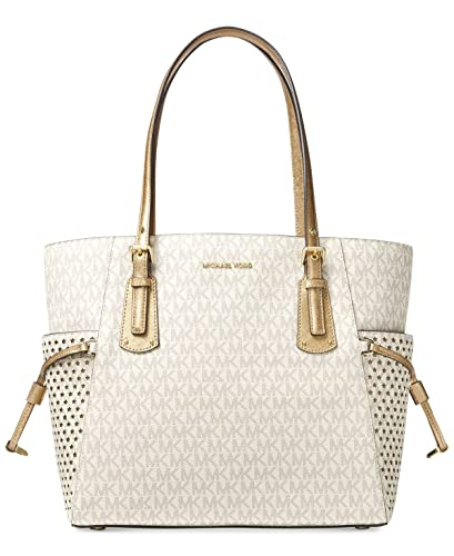 283db005471b21 Amazon.com: MICHAEL Michael Kors Voyager East West Signature Tote  (Vanilla): Shoes