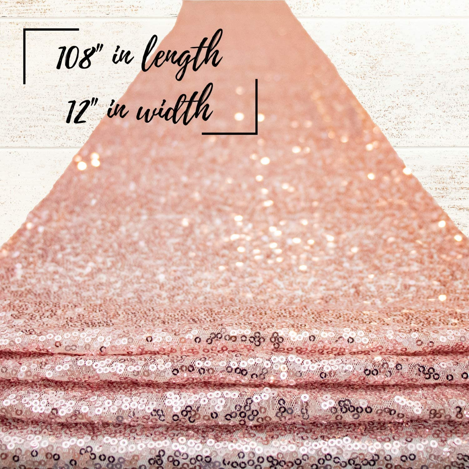 KNOVATES Rose Gold Cloth Table Runner/Rosegold Sequin Wedding and Birthday Party Decorations Runners/Pink Cloths Tables Cover/Decoration for Baby Shower Parties / 12 x 108 inch/Dinning Sequence Decor