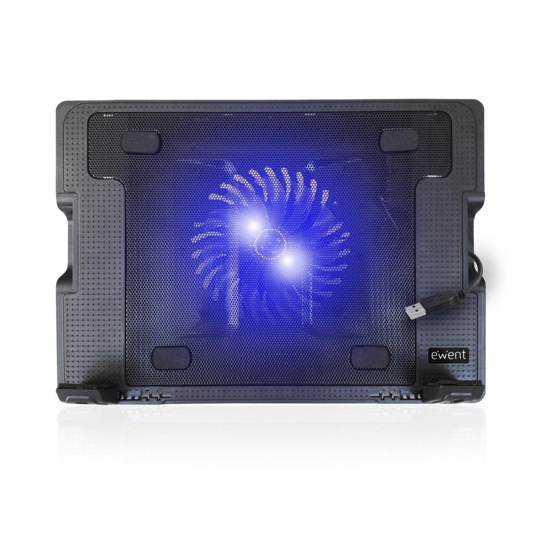 Ewent EW1258 Base de refrigeración para ordenador portátil de 12 a 17 pulgadas con 2 puertos USB, 1 ventiladores, luz LED azul, selección de angulo de ...