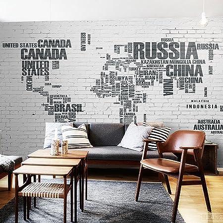 Chan-Mei 3D Large Murals Retro Letter Brick Wall World Map ...