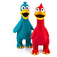 Chiwava 2 Pack Squawking Latex Dog Toy Chicken Duck Squeeze Squeak Interactive Play for Medium Large Dogs Assorted Color