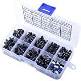 Longruner 180Pcs Bouton-poussoir Tactile interrupteur Micro Momentary Tact Assortiment Kit-4 Pin/10 valeur LP12