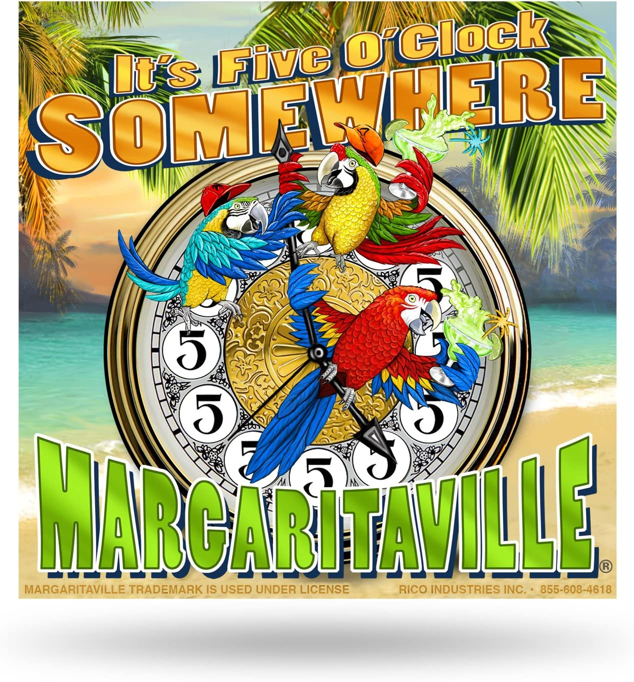 Margaritaville Wood Crate Home Décor Sign, Ideal for Kitchen, Living Room, Office, Garden, Porch, Beach Décor, Parrothead Décor, Measures 4 x 4-inches