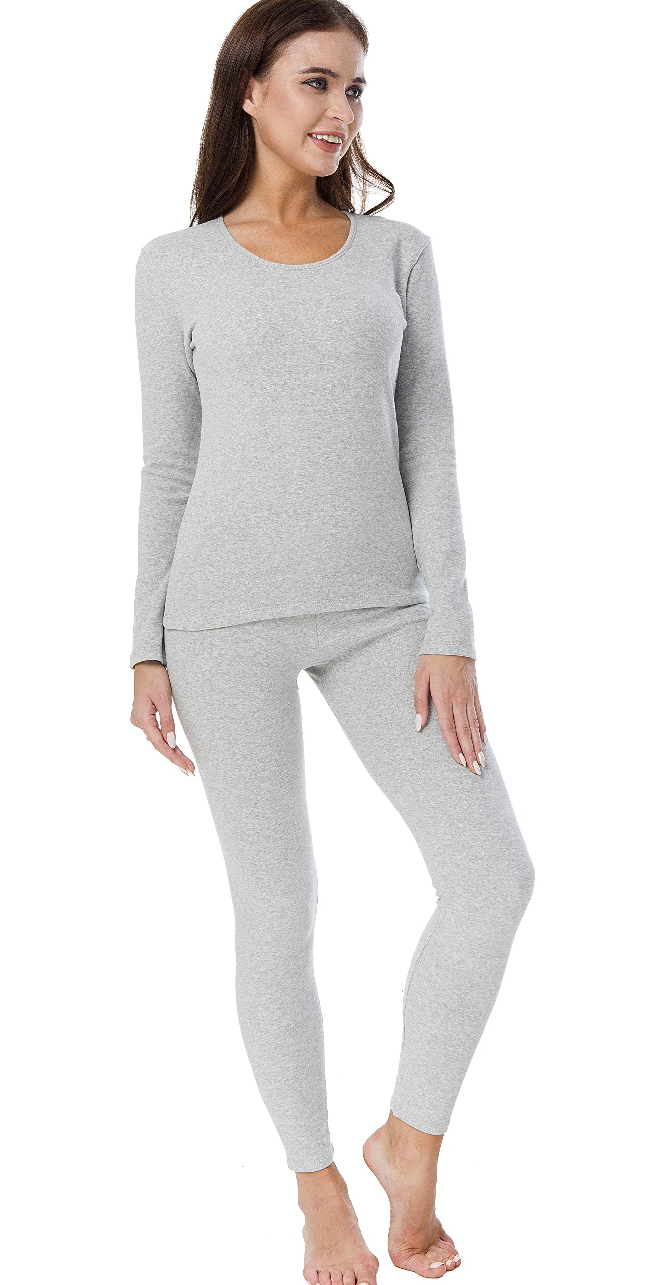 HieasyFit Women's Cotton Thermal Underwear Fleece Lined Winter Base Layer Set Light Gray XL