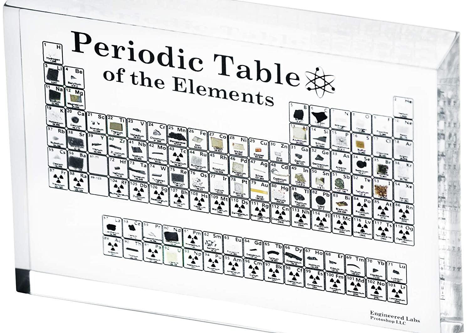 Heritage Periodic Table of Elements, Made in USA, Acrylic Periodic Table with Real Samples