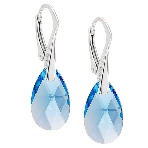 LillyMarie Damen Silber-Ohrringe Silber 925 hell-blau original Swarovski Elements Tropfen Schmuck-Be...